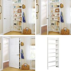 This Shelf fits behind the door! Check the design - it's well thought out. Shelving For Small Spaces