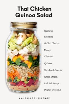 Thai chicken quinoa salad in a jar with ingredients listed on the side
