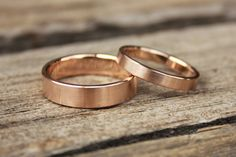 Classic weddingbands 14k rose gold by badenmueller on Etsy