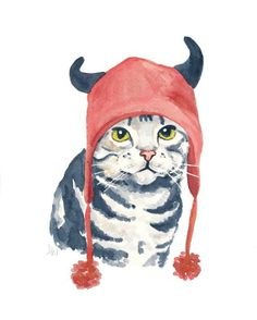 Original Cat Painting, Halloween, Devil Hat, Cat Watercolour, 8x10