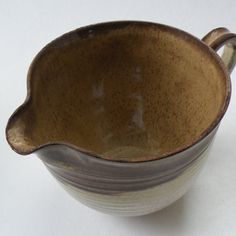 Stoneware Pottery Mixing Bowl - Caramel Brown Oatmeal - Batter Bowl - 4 cups