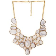 Be Seen Iridescent Bib Necklace   FOREVER21 - 1000107190 ❤ liked on Polyvore featuring jewelry, necklaces, forever 21 necklace, iridescent jewelry, iridescent necklace, forever 21 jewelry and forever 21