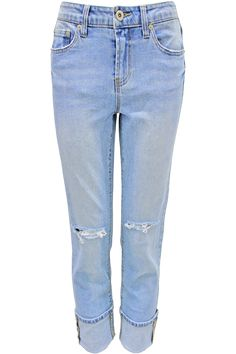 Boyfriend jeans with cuffed hem and distressed knees. Content + Care: - 98% Cotton, 2% Spandex - Machine Washable - Made in China