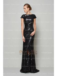 A-Line/Princess High Neck Paillette Lace Short Sleeves Sweep/Brush Train Dress - Formal Dresses - Special Occasion Dresses Evening Dresses Online, Cheap Evening Dresses, Modest Dresses, Prom Dresses, Formal Dresses, Charlize Theron, Special Occasion Dresses, Lace Shorts, Short Sleeves