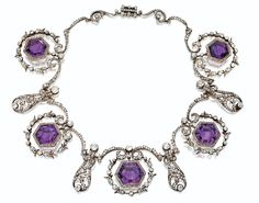 "Queen Alexandra's Amethyst Tiara ~ Amethyst convertible necklace that belonged to Queen Alexandra, sold after her death. It was part of the ""Tiaras"" exhibit in the Victoria & Albert Museum. Owned by Mr. Gordon Getty and auctioned off"