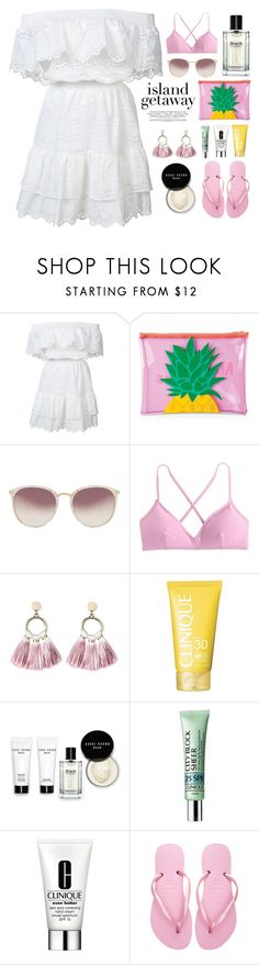 """Island getaway"" by miee0105 on Polyvore featuring LoveShackFancy, Sunnylife, Linda Farrow, J.Crew, SUGARFIX by BaubleBar, Clinique, Bobbi Brown Cosmetics and Havaianas"