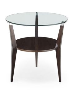 DAVIDSON London - The Cotgrove Table in Tinted Walnut with Glass Top and Nickel detail