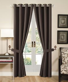 Solid Brown Grommet Top Thermal Insulated Blackout Window Curtain 108Wx84L -1 Pair by Chezmoi Collection $37.99 , http://www.amazon.com/dp/B00C9IRFPY/ref=cm_sw_r_pi_dp_4of8rb1KGNJTR