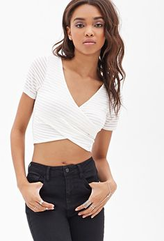 Wrap-Front Shadow Striped Top | FOREVER21 - 2055878456