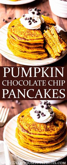This easy recipe for Pumpkin Chocolate Chip Pancakes is loaded with real pumpkin puree, warm spices, and sweet chocolate. Topped with whipped cream and even more chocolate chips, these moist and fluffy pancakes are the perfect sweet and spicy breakfast on a cool, crisp fall morning. | #pancakes #pumpkinpancakes #pumpkinchocolatechippancakes #chocolatechippancakes #pumpkinchocolatechip #fallfood #fallrecipes #fall #pumpkinspice #pumpkinrecipes