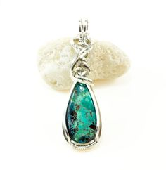 Chrysocolla pendant necklace  Argentium silver by FeathersnThingz