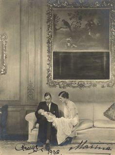 Prince George, Duke and Princess Marina, Duchess of Kent with their son, Edward, circa 1935.