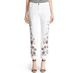 Etro Floral Embroidered Stretch Cotton Boyfriend Jeans ($1,635) ❤ liked on Polyvore featuring jeans, white, floral printed jeans, flower print jeans, boyfriend fit jeans, relaxed jeans and etro jeans