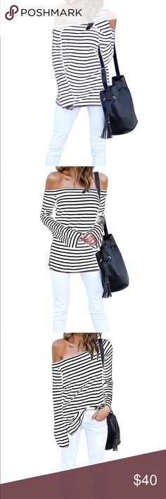 'Madison' Black And White Off The Shoulder Top NWT - MSRP $64 We're adding a trendy style to a classic with our 'Madison' Long Sleeve Black & White Off The Shoulder Top  Features: black and white horizontal stripes, straight neckline,off the shoulder sleeves, Bell sleeves, side slits OFF THE SHOULDER  Size: Small Medium Large XLarge XXLarge Measurements: ** refer to size charge for most accurate fit ** Moda boutique SF modabyboutique  MB1122 Tops Tees - Long Sleeve