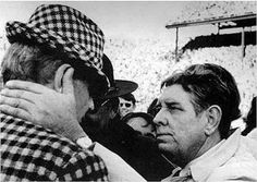 "Ralph ""Shug"" Jordan commiserated with Paul ""Bear"" Bryant when they met after the 1972 game.  Auburn's 17-16 victory made Jordan one of the few ever to defeat modern football's winningest coach three times in four years."