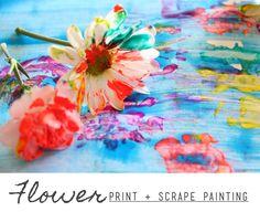Flower Print + Scrape Painting