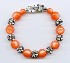 Vintage Orange Moonglow Clear Rhinestone Beaded Lucite Bracelet #NotSigned #Beaded