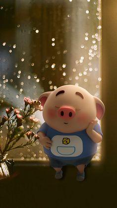 Pig Wallpaper, Cute Wallpaper Backgrounds, Flower Wallpaper, Iphone Wallpaper, This Little Piggy, Little Pigs, Kawaii Pig, Cute Piglets, Pig Illustration