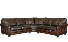 Princeton Leather True Sectional with Down-Blend Cushions by Bernhardt in 165-220 at Savvy Home. $3,439.00