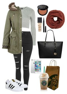 """""""'Common White Girl'"""" by t-k-amie ❤ liked on Polyvore featuring Topshop, Brave Soul, adidas, MICHAEL Michael Kors, NYX, NARS Cosmetics and Marc Jacobs"""