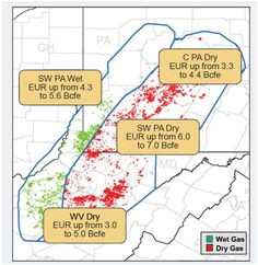 Wet/Dry Gas production in the Marcellus as of Dec 2012
