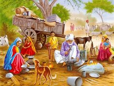 Working Female & Simple Village Life of Sukho Chak Thesiel Shakargarh Di. Village Scene Drawing, Art Village, Indian Village, Indian Artwork, Indian Art Paintings, Village Photography, Art Photography, Rajasthani Painting, Punjabi Culture