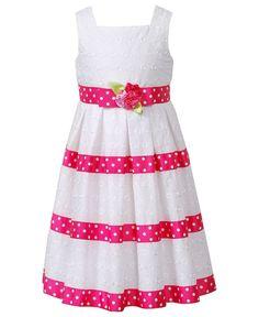 Sweet Heart Rose Kids Dress, Little Girls Eyelet Ribbon Dress - Kids Girls 2-6X - Macy's