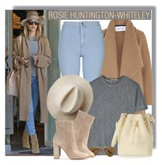"""ROSIE HUNTINGTON-WHITELEY"" by anne-mclayne ❤ liked on Polyvore featuring Whiteley, Harris Wharf London, Topshop, T By Alexander Wang, Sophie Hulme, Artesano, Ray-Ban and Gianvito Rossi"