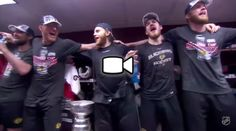 """2015 Blackhawks celebrate winning Lord Stanley's Cup by singing, """"We Are the Champions."""""""