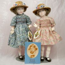 Peggy Nisbet Princesses Elizabeth and Margaret as Girls, Porcelain and Cloth, 1978, Double Signed, #73 in 500.