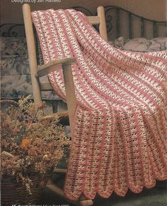 Peaches & Cream Afghan Crochet Pattern Throw Blanket Home Decor P-184 by PatternMania3 on Etsy