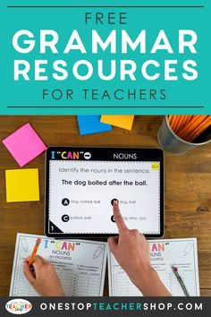 A collection of FREE Grammar Resources for teachers! These printable and digital Grammar Practice activities are perfect for daily review, language arts centers, distance learning, homework, morning work, and more! Be sure to download them all! Available for 1st Grade, 2nd, 3rd, 4th, 5th, 6th, 7th, and 8th. Grammar Practice, Teaching Grammar, Grammar And Vocabulary, Teaching Writing, Grammar Review, Cult Of Pedagogy, Small Group Activities, Grammar Activities, Middle School Teachers