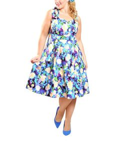 Purple Floral Marilyn Sleeveless Dress - Women by Cherry Velvet #zulily #zulilyfinds