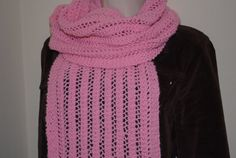 Baby Pink Long Fashion Lace ScarfReversible 10 x 59 by Hand Knit Scarf, Lace Scarf, Lace Knitting, Knitting Patterns, Knitted Scarves, Fashion Scarves, Different Patterns, Scarf Styles, Beautiful Hands
