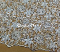 White Lace Fabric White floral lace fabric Floral by RobePlus