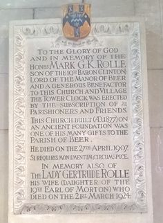 Memorial at Beer to Mark Rolle of Bicton. Devon, Beer, Memories, Ale, Souvenirs, Remember This