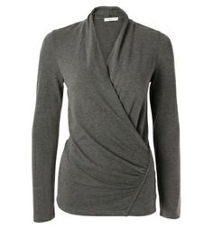 ruched knit cross-over top