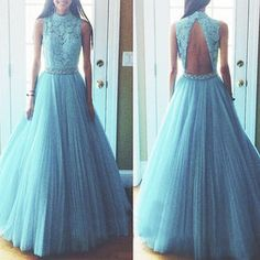 A438 high neck long tulle evening bridal gowns,light blue tulle evening dresses, floor-length prom dresses