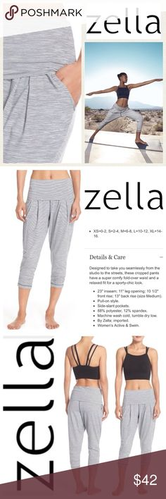NEW!  Zella Breeze harem capris in white/grey Beyond soft, on-trend 'Breeze' harem capris by Zella are so comfy, you'll never want to take them off!  These incredible pants are neutral & easily pair with nearly everything & dress up or down!  They work as incredibly with heels as they do with flats or even running shoes!  These capris are brand new, never worn and retail at $64!  Don't miss an amazing deal on this sporty-chic piece at a great price!  Size is Medium.  No trades please. Zella…