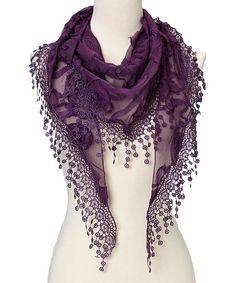 Purple Flower Lace Silk-Blend Scarf