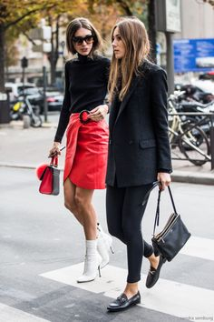 Top| Blouse| Sweater| Black| Long sleeve| High neck| Turtleneck| Tucked in| Skirt| Mini| Red| Short| Leg| Belt| Black| Accent| Purse| Bag| Handbag| Shoes| Heels| Booties| Boots| Ankle| White| Close toed| Fall| Autumn| P691
