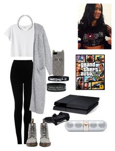 WWE: Invite AJ Lee over for a game night by mariaxl on Polyvore featuring Monki, Topshop, Dr. Martens, Kate Spade, Beats by Dr. Dre, WWE and Sony