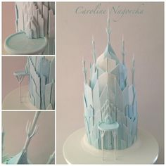 """Frozen Castle. 12"""" high in cake, 16"""" high to the top point. Caroline Nagorcka"""
