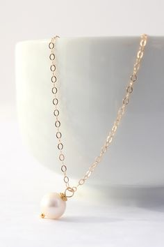 Single Pearl Necklace Freshwater