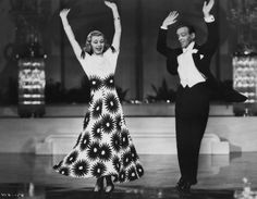 American dancers singers and actors Ginger Rogers and Fred Astaire performing in a scene from 'Shall We Dance' directed by Mark Sandrich 1937