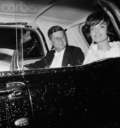 President Kennedy and First Lady Jackie Kennedy leave the Elysee Palace, where they have dined with French President Charles De Gaulle. They return to the Quai d'Orsai, where they are staying on their visit to Paris.