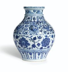 A RARE BLUE AND WHITE 'PEONY'JAR YUAN DYNASTY - Sotheby's