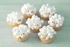Nice treat: this is how you make these cute sheep (video) - Cupcakes Sheep Cupcakes, Animal Cupcakes, Monster Cupcakes, Easy Halloween Snacks, Halloween Food For Party, Halloween Cupcakes, Hippo Cake, Cupcake Videos, Cute Desserts