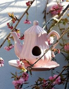 50 Amazing Bird House Ideas For Your Backyard Space. Anyone who enjoys having birds around them will find a bird house inexpensive to build and great fun. Bird house plans come in many shapes and size. Teapot Birdhouse, Birdhouse Ideas, Pink Teapot, Cute Birds, Dream Garden, Yard Art, Bird Feathers, Garden Inspiration, Garden Ideas