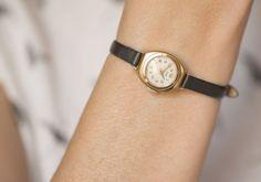 Very rare women's watch Ray gold plated tiny wrist by SovietEra, $99.00